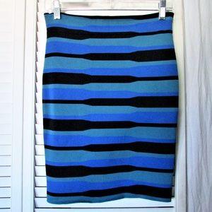 BCBG MaxAzria stretch  blue green black skirt M
